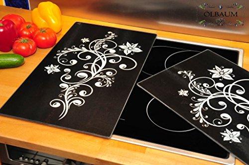 Preisvergleich Produktbild Grill-,  Wand- & Herdabdeckung + Spritzschutz-GlasGrill-Schneideplatten massiv,  ca. 52 cm x 30 cm x 0, 8 cm 1-tlg. Set schwarz,  Herdabdeck- / Grill-Schneideplatte,  Herdblende, Herdabdeckplatten für Elektroherd mit Ceran, Ceranfeld, Induktion Kochfeld