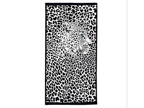 Houhounnpo rifornimenti giornalieri accappatoio neutro con stampa reattiva accappatoio beach black panther pattern (bianco-nero)
