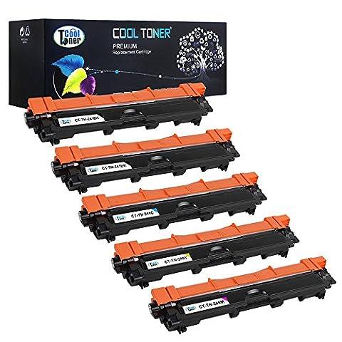 Cool Toner Compatible Toner pour TN241 TN245 TN-241 TN-245 TN 245 TN-241BK TN-245C TN-245M TN-245Y Cartouche de Toner Compatible pour Brother HL-3140CW 3142CW 3150CDW 3152CDW 3170CDW 3172CDW,MFC-9130CW 9140CDN 9330CDW 9340CDW,DCP-9020CDW Imprimante,K-2500 C-2200 M-2200 Y-2200 feuilles, Lot de 5