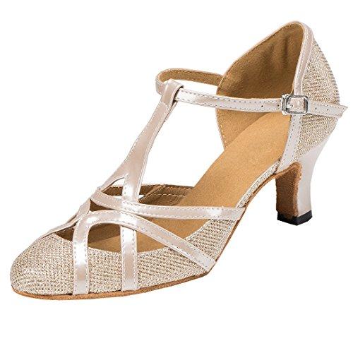 F & M piel sintética para mujer Mid tacón Salsa Tango salón de baile zapatos de baile latino Party CM101, color marrón, talla 42