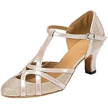 F & M piel sintética para mujer Mid tacón Salsa Tango salón de baile zapatos de baile latino Party