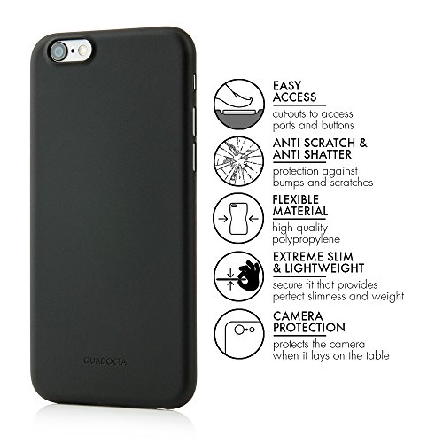 "Étui ""Angusta"" ultra-fin pour iPhone 6S et iPhone 6 d'Apple, 4,7 pouces, noir. Étui de protection extra-fin QUADOCTA pour iPhone 6/6S original d'Apple. solid black"
