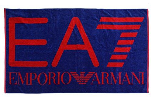 Emporio armani ea7 telo mare asciugamano uomo originale logo blu