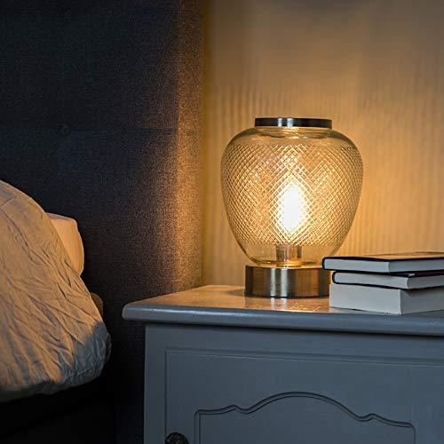 QAZQA Retro/Klassisch/Antik Vintage Tischlampe sphärisch verziertes Glas mit Gold/Messing - Bardo/Innenbeleuchtung/Wohnzimmerlampe/Schlafzimmer/Stahl Organisch LED geeignet E27 Max. 1 x 4 -