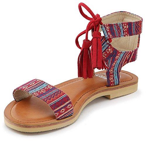 Alexis Leroy Chaussures Bohême Sandales à lacets bout ouvert femme Rouge