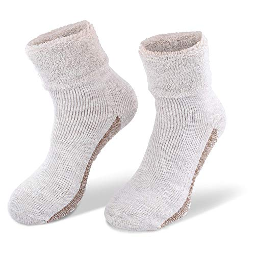 StilwerX Alpaka-Wollsocken mit ABS-Antirutschsohle - Die sanfte Entspannung für die Füße - so warm und weich, Home-Socken aus feinster Wolle (2x Beige, 35-38)