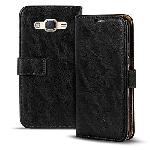 Conie RW30467 Retro Wallet Kompatibel mit Samsung Galaxy J1 2016, Klapphülle Tasche Vintage Leder Design für Galaxy J1 2016 Etui mit Kartenfächer Vintage Schwarz
