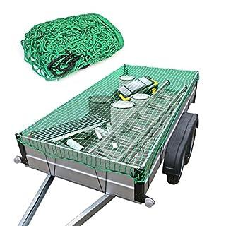 Oramics Anhängernetz Gepäcknetz für Anhänger - 2 x 3 Meter - reißfestes dehnbares Nylon in Grün, Sicherungsnetz Ladungssicherungsnetz, Sicherung für PKW Anhänger
