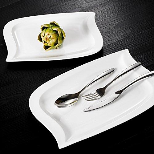 MALACASA, Serie Elvira, 2 TLG. Set Cremeweiß Porzellan 13,25&11 Zoll Flacher Teller Speiseteller Essteller Kuchenteller Dessertteller Servierplatte - Teller 11