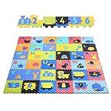 BAMNY Puzzlematte für Babys und Kinder, 36 Spielteppich mit Alphabete, Nummern und Lernelementen +40% Dicker Spielmatte mit antirutschem Steinmuster. Schadstofffrei, EN71 geprüft | 2 Jahr Garantie
