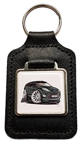 ford-fiesta-black-caricature-leather-keyring-licensed-koolart-gift-by-bp-graphics