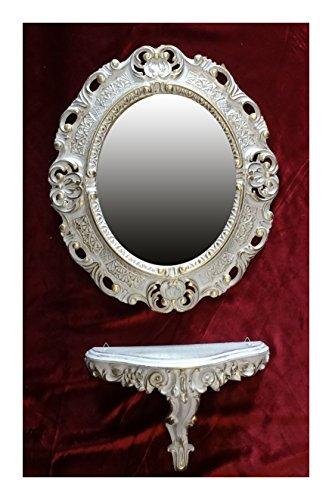 SET Weiß Gold Wandspiegel + Konsole M OVAL Wandkonsole Barock Antik 44x38 Flur Eingangsmöbel Möbel Konsole Ablage Spiegel Wandregal