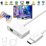 WiFi Display Dongle, [2019 Aufgerüstet] Wireless HDMI Anzeige Empfänger 1080P Full HD Unterstützt für iPhone, Android, iPad, PC, TV, Mac, Windowsr, Projektor (Plug and Play)
