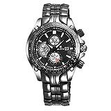 CWYPB Männliche Uhren Edelstahl-Gurt Leuchtend Quarzuhren Kalender Runde Wasserdichte Uhr Volle Länge: 225Mm,Black