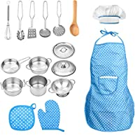 FUQUN 17 Pcs Pretend Play Kitchen Cookware Set Cooking Toy Cookware Playset Stainless Steel Pots & Pans Bundle For Kids - Childrens Role Play Set with Dress up Costume Waterproof Aprons