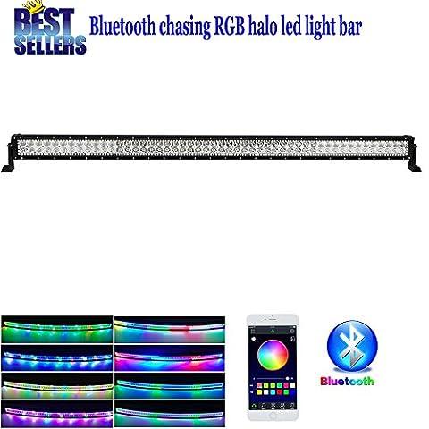 Colorbarz® Tempêtes de sable Straight 132,1cm 300W Barre lumineuse LED RGB Halo avec Bluetooth App contrôle et Faisceau de câblage pour Rock Lights Off Road Lights Bluetooth LED pour camion de voiture feux de dessous de caisse étanche