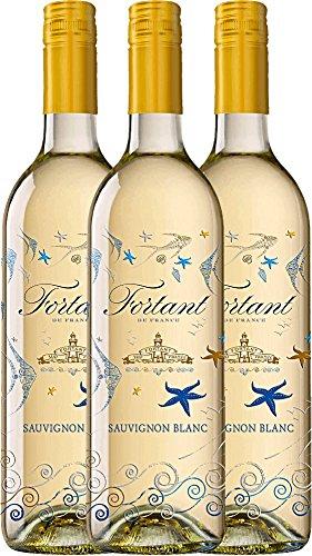 3er Paket - Sauvignon Blanc serigrafiert Pays d\'OC IGP 2016 - Fortant de France   halbtrockener Weißwein   französischer Sommerwein aus Languedoc   3 x 0,75 Liter