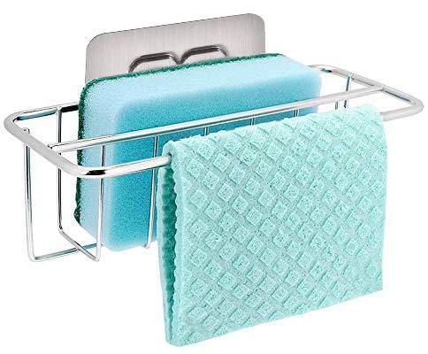 bogeer porta spugne organizer per lavello, 2-in-1 cucina cestino portaoggetti cucina lavello di organizer per strofinaccio, acciaio inossidabile, adesivo forte