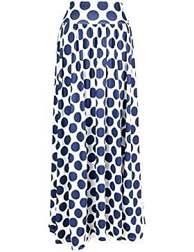 AMORETU Mujeres Elegante Impreso Maxifalda Plisada de Cintura Alta Faldas Largas Vacaciones Playa