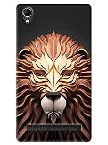 Omnam Tiger Printed With Effect Printed Back Cover Case For Intex Aqua Power Plus