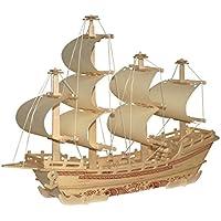 MagiDeal Fai Da Te Kit di Costruzione Dono Giocattolo Puzzle di Legno Nave Mercantile Puzzle Modellazione 3D
