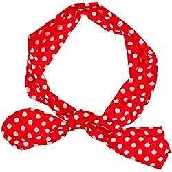 LUX accesorios Rojo Blanco Lunares Tie elástico diadema banda para la cabeza