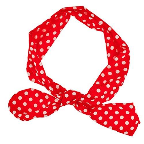 LUX Zubehör Rot Weiß Polka Dot Krawatte Stretch Stirnband Head Band