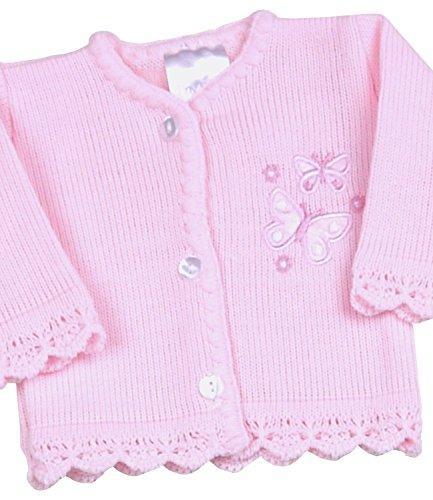 BabyPrem Frühchen Babykleidung StrickJäcken Pullover Rosa Schmetterling Mädchen 44-50cm