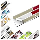 Wandaro 1 Stück Fliesenaufkleber 27,9 x 4,3 cm rot Taupe weiß Ziegel Design 11 I 3D Aufkleber Fliesenfolie Mosaik Bad Küche W3467