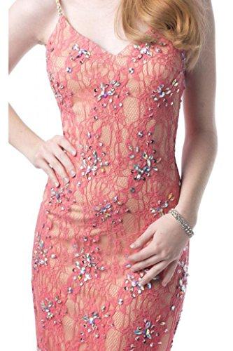 Toscane mariée ladies'fashion 2–support abendkleider court pointe solide party robe de cocktail Rouge - Wassermelonerot