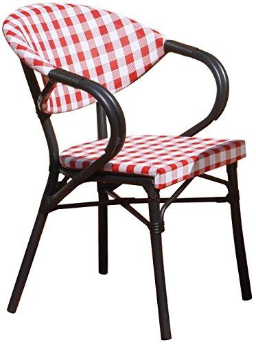 Fauteuil en Aluminium Ø 28mm noir et textilène carreaux blanc et rouge - Dim : 59 x 57 cm - PEGANE -