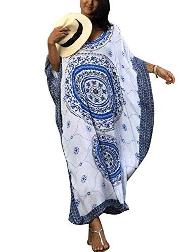 Tkiames Damen Sommerkleid Strandkleid Lang Rundhals High Waist Striped Sleeveless Beach Boho Kleid Partykleid Cocktailkleid (One Size, Blau Weiss) - Gestreiften Und Rock Blau Weiß