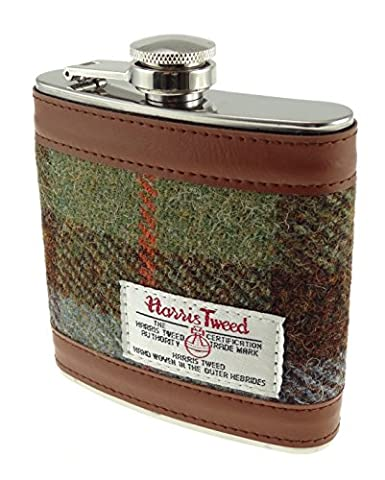 Harris Tweed 6oz Measurement Stainless Steel Hip Flask 4 Colours Available (COL 15)