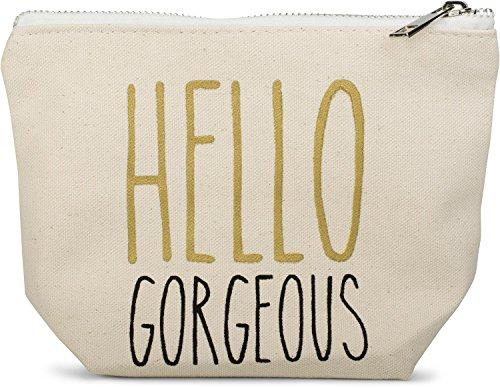 Designer-100% Baumwolle Tote (styleBREAKER Statement Beautybag mit 'HELLO GORGEOUS' Aufdruck, Kosmetiktasche, Make Up Bag, Tasche, Damen 02013007, Farbe::Creme-Beige)