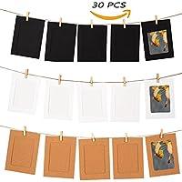 Tocone Marco de Fotos de Papel de Bricolaje Decoración de La Pared Del Hogar Con Cuerda y Clip Marco de Imagen de Decoración Se Adapta a Fotos de 10 x 15 cm Imágenes