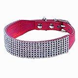 Sobotoo verstellbar Multi Zeilen Bling Full Strass Diamant Hundehalsband aus Leder, Kristall Nieten für Hunde Puppy & Kitty Cat