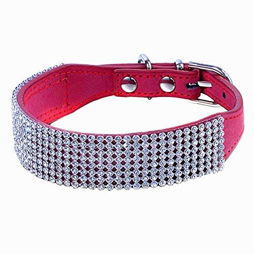 Sobotoo verstellbar Multi Zeilen Bling Full Strass Diamant Hundehalsband aus Leder, Kristall Nieten...