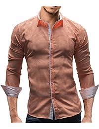 MERISH Slim Fit Hommes Chemise à manches longues Coup d'oeil plaid parfait pour les occasions de tous les jours et toutes les autres Modell 141