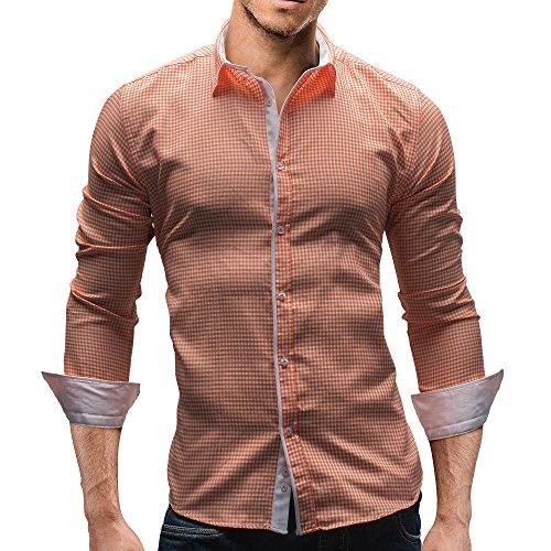 MERISH Herren Hemd Gingham Design Slim Fit Kariert Modell 141 Orange
