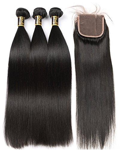 Yavida 8A Brazilian Straight Human Hair Bundles with Closure Natural Color Brasilianisches Jungfrau-gerades Menschenhaar-3 Bündel mit freiem Teil-Schließungs-Menschenhaar-Extensions 45 45 45 + 40cm