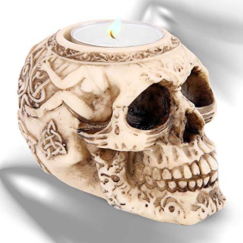 mtb more energy Deko Teelichthalter ''Tattoo Lover'' | Totenkopf Kerzenhalter | Höhe 6.5 cm | Totenschädel Figur Gothic Dekoration