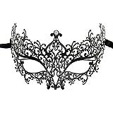 sky tears Mascara Veneciana Mujer Negra Máscara de la Mascarada Metal Laser- Corte de Diamantes