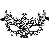sky tears Máscara de la Mascarada Halloween Máscara Metal Laser-Corte de Diamantes de Imitación Noche Baile Veneciano Carnaval Fiesta (Negra B)