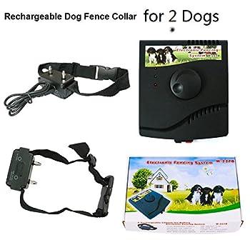 Pour 2 chiens Creusée cachée sans fil Chien Clôture collier récepteur rechargeable chien Électrique Clôtures Système(Collier Longueur: 65cm = 25.59