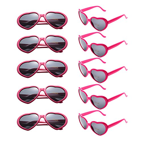 ONNEA 10er Pack Herz Party Sonnenbrille UV400 Schutz Kinder Damen Herren (10er Pack Rose Rot)