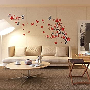 Walplus grand autocollant mural fleurs cerisier papillon citation dance rain cuisine - Decorazioni per pareti camera da letto ...