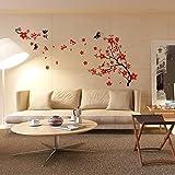 150 x 90 cm, Walplus-Adesivi per parete, motivo: 'Fiori di ciliegio e farfalle', rimovibile, in vinile, arte murale, decorazione per soggiorno, camera da letto, Home Décor-Carta da parati per la camera dei bambini, in confezione regalo, multicolore