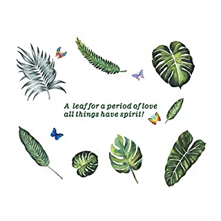 AWAKINK Cartoon Butterflies Green Plants Leaves Fern Leaves Pastoral Style Wall Stickers Wall Decal Vinyl Removable Art Wall Decals for Bedroom Living Room Nursery Room Children's Bedroom
