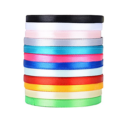 AONER 270m Satinband (0,6 cm breit) Seidenbänder Seidenband Schleifenband Hochzeit Dekoband Satin Geschenkband (270 M (6 mm breit), 12 Farben)