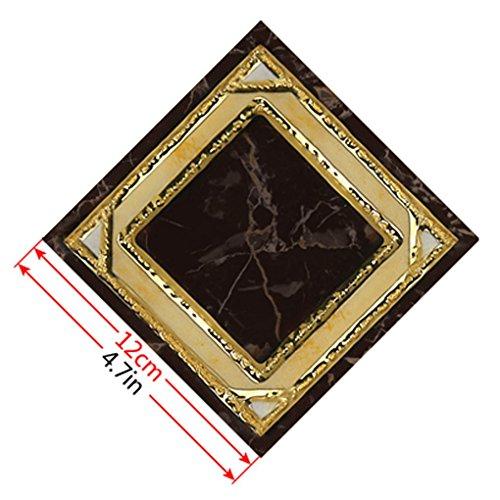10pcs GoldRetro- Blumen-Fußboden-Fliesenaufkleber Boden Abziehbilder Wohnzimmer Washroom Dekor Wasserdicht Regard (Stick Fliesenboden)